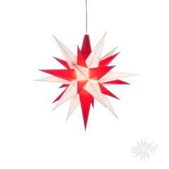 Stern A1e weiss-rot Kunststoff Herrnhuter Stern für innen mit LED
